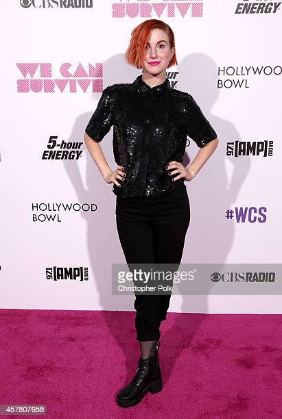 Singer Hayley Williams of Paramore poses backstage during CBS Radio's We Can Survive at the Hollywood Bowl on October 24 2014 in Los Angeles...