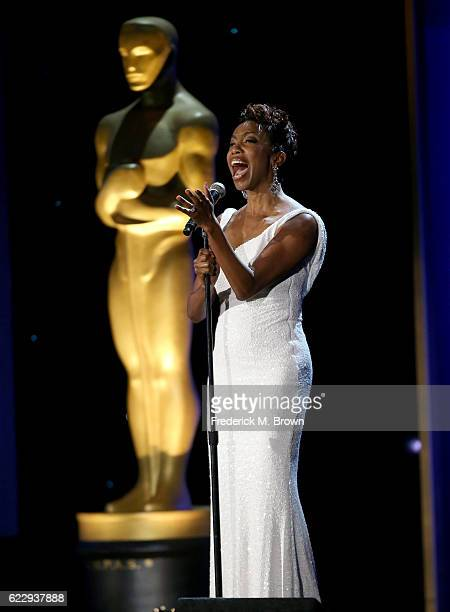 Singer Heather Headley sings on stage during the Academy of Motion Picture Arts and Sciences' 8th annual Governors Awards at The Ray Dolby Ballroom...