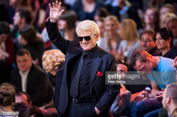 Singer Heino waves at the audience during 'Let's Dance' Semi Finals at Coloneum on May 16 2012 in Cologne Germany