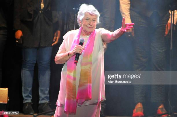 Singer Helen Reddy performs onstage during the Concert for America Stand Up Sing Out at Royce Hall on May 24 2017 in Los Angeles California