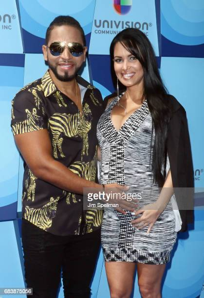 Singer Henry Santos and Gisselle Mendez attend Univision's 2017 Upfront at the Lyric Theatre on May 16 2017 in New York City