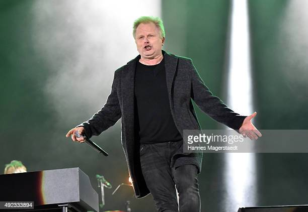 Singer Herbert Groenemeyer performs during the WIR open air at Koenigsplatz on October 11 2015 in Munich Germany This free music festival is offered...