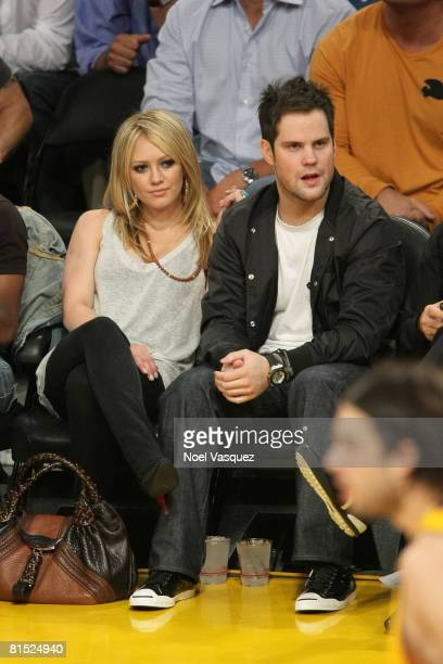 Singer Hilary Duff and New York Islander player Mike Comrie attend Game Three of the 2008 NBA Finals between the Boston Celtics and the Los Angeles...
