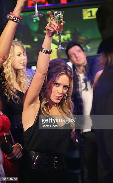 Singer Hilary Duff poses during MTV's TRL 'Total Finale Live' at the MTV studios in Times Square on November 16 2008 in New York City