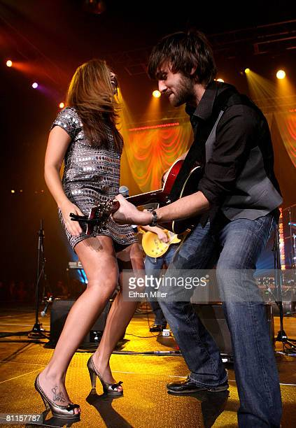 Singer Hillary Scott and guitarist Dave Haywood of Lady Antebellum perform during the Academy of Country Music New Artists' Party for a Cause show at...