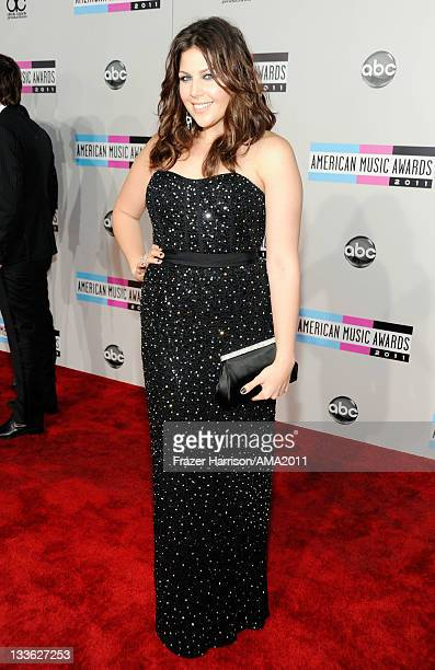 Singer Hillary Scott of Lady Antebellum arrives at the 2011 American Music Awards held at Nokia Theatre LA LIVE on November 20 2011 in Los Angeles...