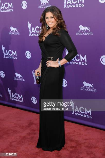 Singer Hillary Scott of Lady Antebellum arrives at the 47th Annual Academy Of Country Music Awards held at the MGM Grand Garden Arena on April 1 2012...
