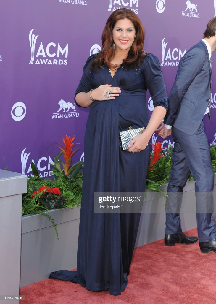 Singer Hillary Scott of Lady Antebellum arrives at the 48th Annual Academy Of Country Music Awards at MGM Grand Garden Arena on April 7, 2013 in Las Vegas, Nevada.