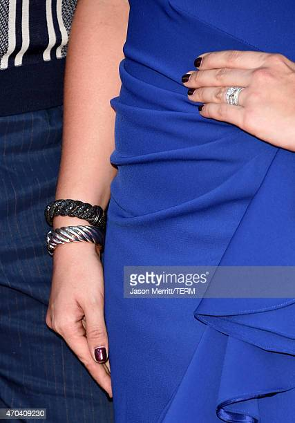 Singer Hillary Scott of Lady Antebellum jewelry detail attends the 50th Academy of Country Music Awards at ATT Stadium on April 19 2015 in Arlington...