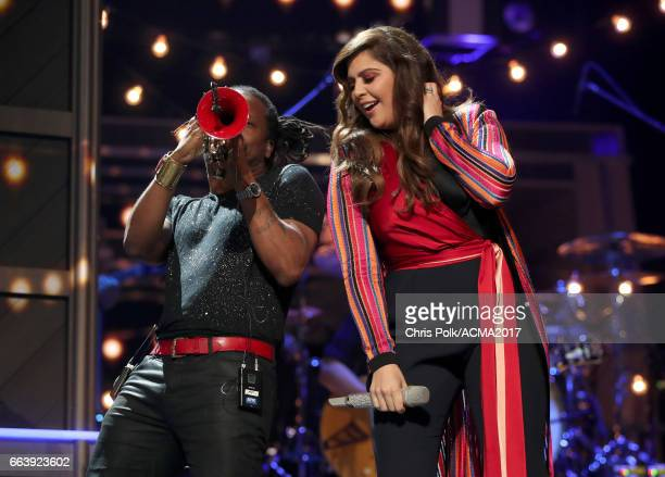 Singer Hillary Scott of Lady Antebellum performs onstage during the 52nd Academy of Country Music Awards at TMobile Arena on April 2 2017 in Las...