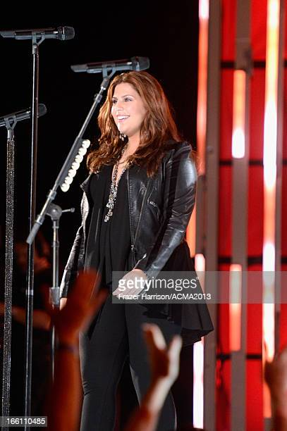 Singer Hillary Scott of music group Lady Antebellum performs onstage during Tim McGraw's Superstar Summer Night presented by the Academy of Country...