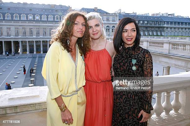 Singer HollySiz alias Cecile Cassel standing between Sylvie Hoarau and Aurelie Saada attend French minister of Culture and Communication Fleur...