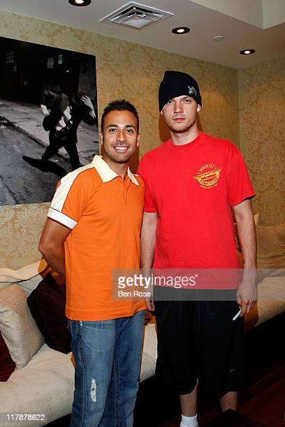 Singer Howie Dorough and Singer Nick Carter at Ten Pin Alley on August 22 2007 in Atlanta Georgia