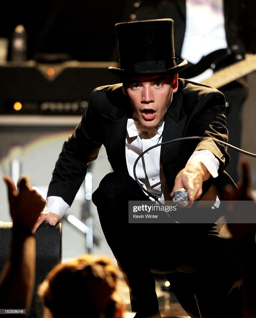 Singer Howlin' Pelle Almqvist of The Hives performs at the Wiltern Theater on September 14, 2012 in Los Angeles, California.