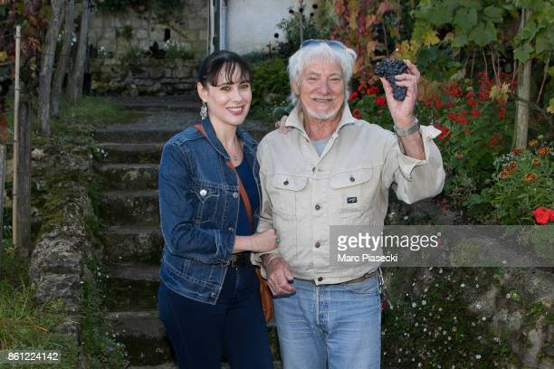 Singer Hugues Aufray and his partner Muriel attend the 84th 'Fete des Vendanges' on October 14 2017 in Paris France