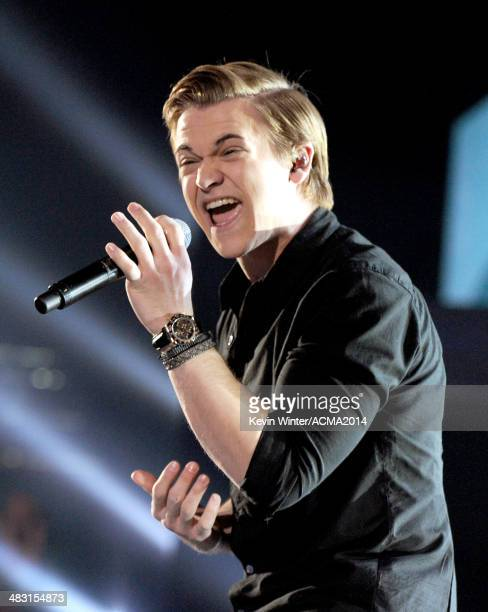 Singer Hunter Hayes performs onstage during the 49th Annual Academy of Country Music Awards at the MGM Grand Garden Arena on April 6 2014 in Las...
