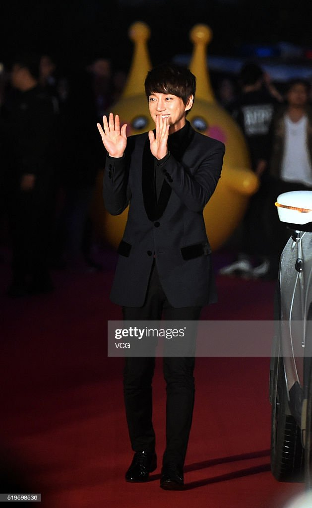 Singer Hwang Chiyeul arrives at the red carpet of television show 'I Am A Singer' at Hunan Television on April 7 2016 in Changsha China