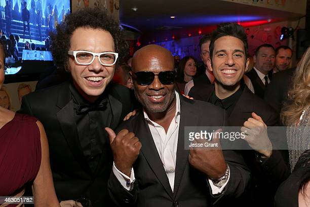 Singer Ian Axel of A Great Big World chairman and CEO of Epic Records Antonio LA Reid and musician Chad Vaccarino of A Great Big World attend the...