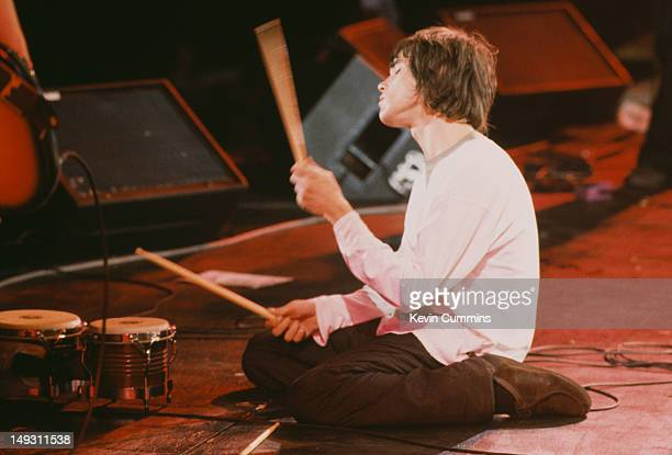 Singer Ian Brown of English rock band The Stone Roses in concert at Spike Island Widnes Cheshire 27th May 1990