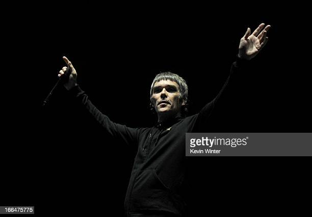 Singer Ian Brown of the band The Stone Roses performs onstage during day 1 of the 2013 Coachella Valley Music Arts Festival at the Empire Polo Club...