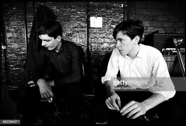 Singer Ian Curtis and guitarist Bernard Sumner of English post punk band Joy Division at TJ Davidson's rehearsal room Little Peter Street Manchester...