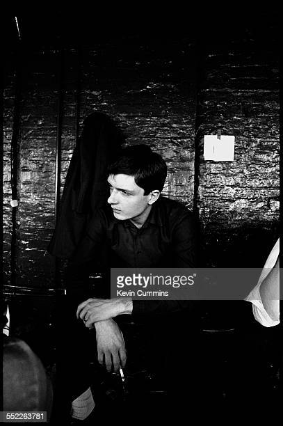 Singer Ian Curtis of rock group Joy Division at TJ Davidson's rehearsal room Little Peter Street Manchester 19th August 1979