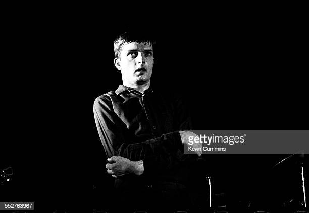 Singer Ian Curtis performing with English rock group Joy Division at the Russell Club also known as The Factory Manchester 1979
