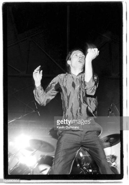 Singer Ian Curtis performing with English rock group Joy Division during the Futurama One Festival at the Queen's Hall Leeds 8th September 1979 The...