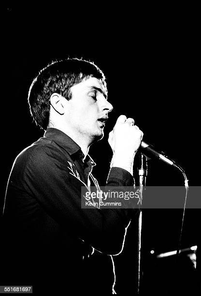 Singer Ian Curtis performing with rock group Joy Division at Leigh Open Air Festival 27th August 1979 The event was held on excoal board wasteland...