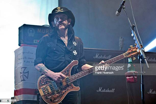 Singer Ian 'Lemmy' Kilmister of the British band Motorhead performs live during a concert at the MaxSchmelingHalle on November 16 2014 in Berlin...