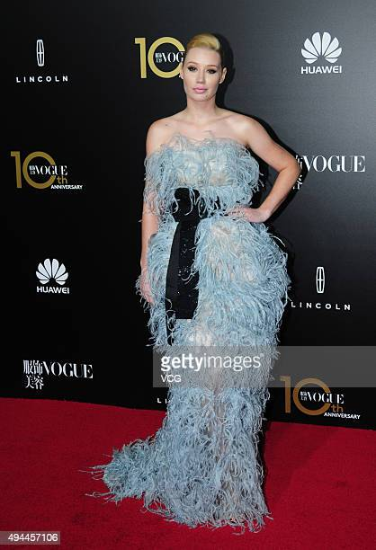 Singer Iggy Azalea attends Vogue China gala dinner at Shanghai Exhibition Center on October 27 2015 in Shanghai China