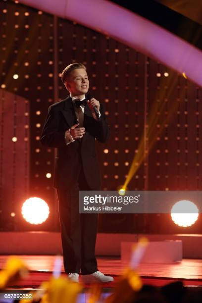 Singer Iggy Kelly member of the Kelly Family performs during the show 'Schlagercountdown Das grosse Premierenfest' at EWE Arena on March 25 2017 in...