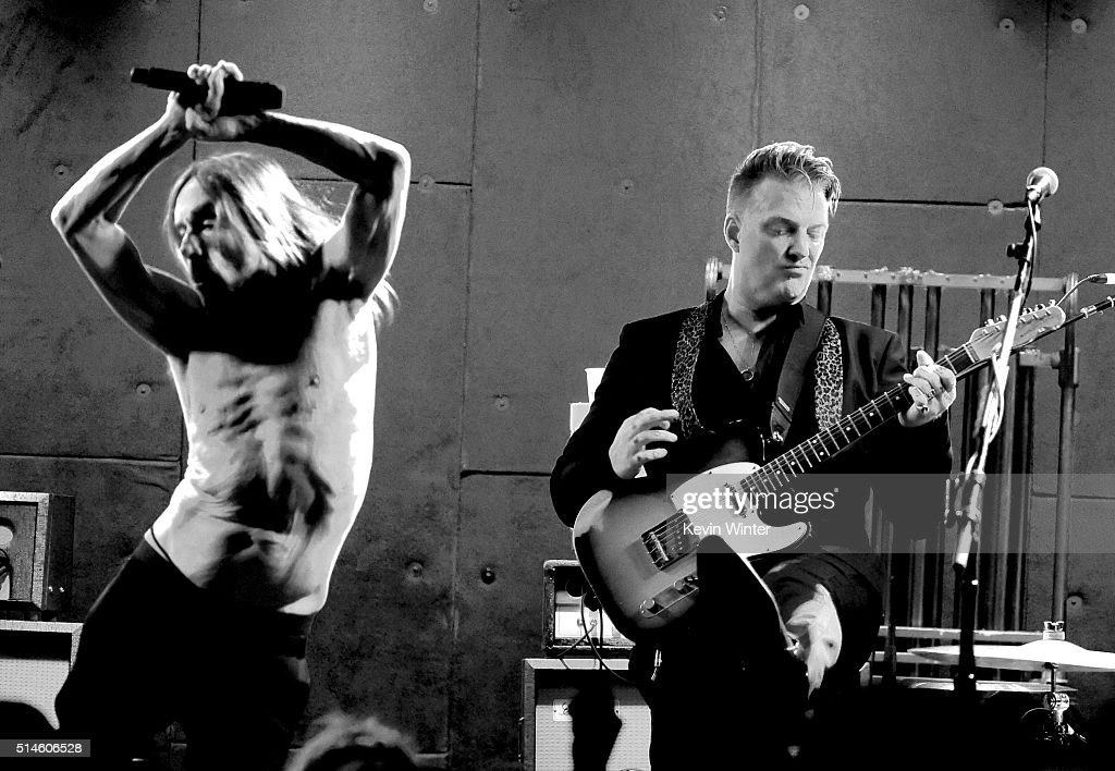 Singer Iggy Pop (L) and musician Josh Homme perform at the Teragram Ballroom for The Post Pop Depression Tour on March 9, 2016 in Los Angeles, California.