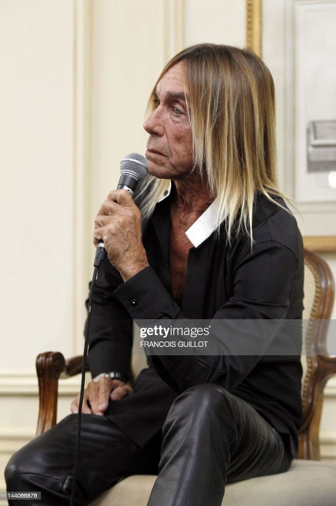 US singer Iggy Pop gives a press conference to present his new album 'Après', on May 9, 2012 in Paris. 'Après' ('After' in French) is Iggy Pop's 16th record, with covers of international and French standards (such as Frank Sinatra, The Beatles, Edith Piaf, Serge Gainsbourg, Georges Brassens, Henri Salvador), exclusively on sale on the French online retailer website vente-privee.com, specialising in selling brand overstock and organizing events-based sales.