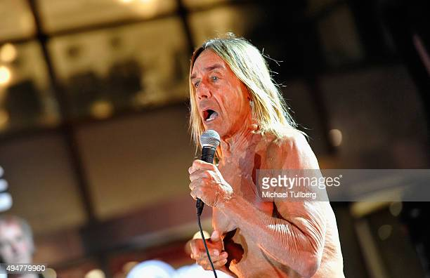 Singer Iggy Pop performs at the premiere of STARZ's 'Ash vs Evil Dead' at TCL Chinese Theatre on October 28 2015 in Hollywood California