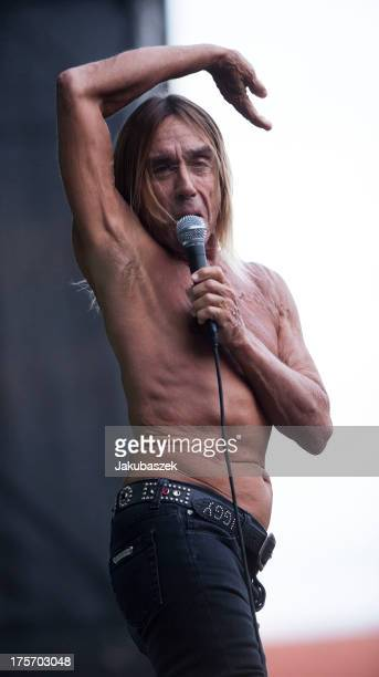 Singer Iggy Pop performs live during a concert as Iggy and The Stooges at the Zitadelle Spandau on August 6 2013 in Berlin Germany