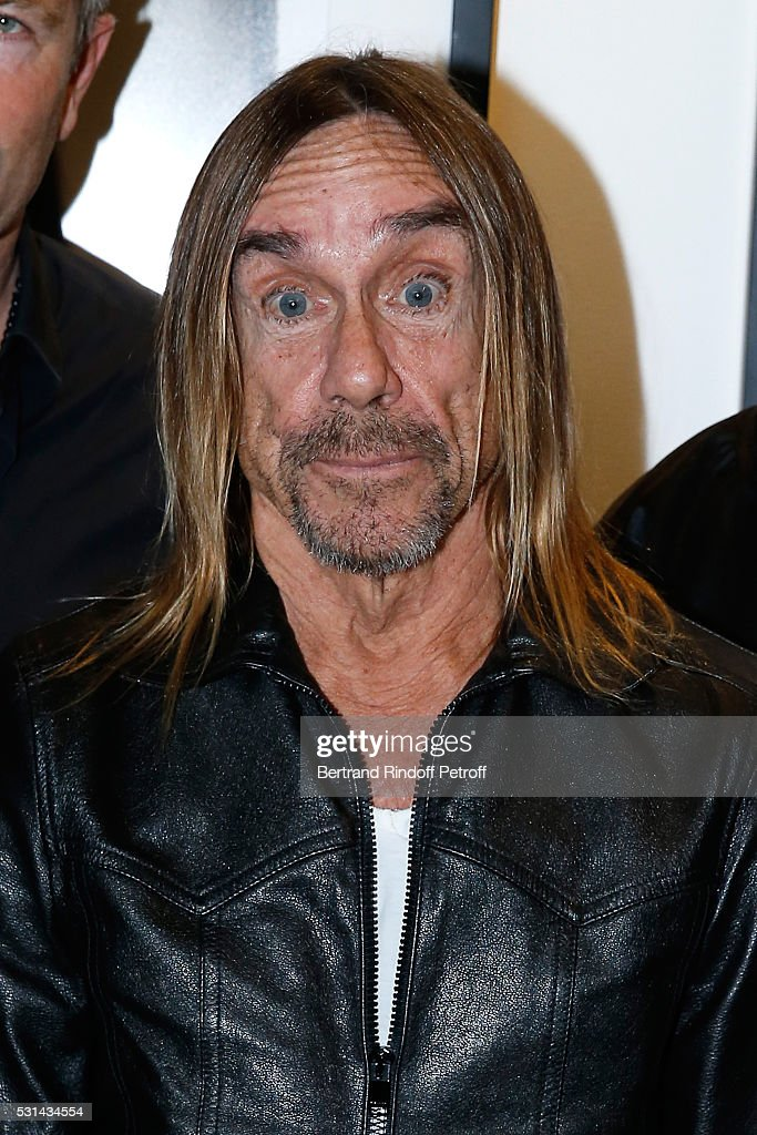 Singer Iggy Pop presents the 'Iggy Pop Post Depression' Art Pictures Exhibition at French Paper Gallery on May 14, 2016 in Paris, France.