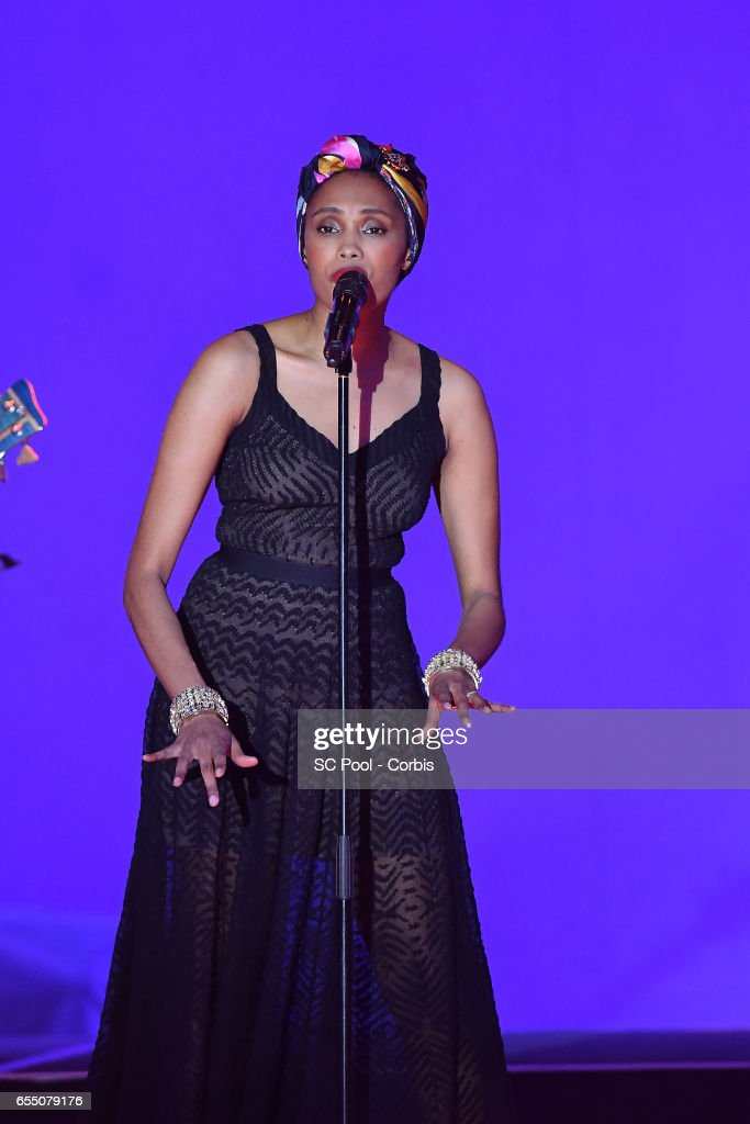 Singer Imany performs on stage during the Rose Ball 2017 Secession Viennoise To Benefit The Princess Grace Foundation at Sporting Monte-Carlo on March 18, 2017 in Monte-Carlo, Monaco.