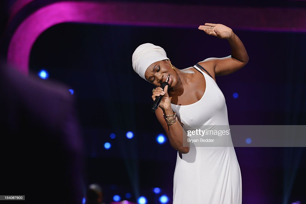 Singer India Arie performs onstage at BET's Black Girls Rock 2012 at Paradise Theater on October 13, 2012 in New York City.