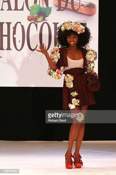 Singer Inna Modja dressed by JeanPaul Hevin walks the runway at the Salon Du Chocolat 2010 Opening Night at the Parc des Expositions Porte de...