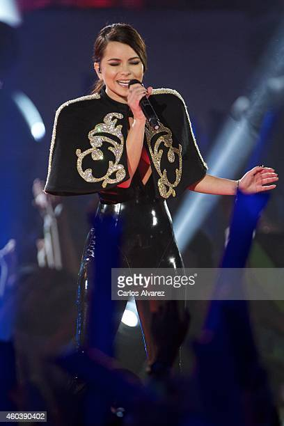 Singer Inna performs on stage during the '40 Principales' awards 2013 ceremony at the Barclaycard Center on December 12 2014 in Madrid Spain
