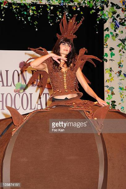 Singer Irene Salvador dressed by Patrice Chapon attends the Salon Du Chocolat 2010 Opening Night at the Parc des Expositions Porte de Versailles on...
