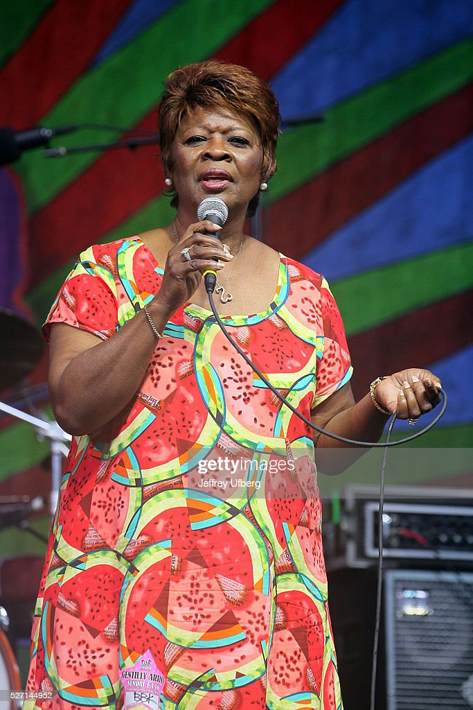 Singer Irma Thomas performs with BB King's Band as part of a tribute to BB King at Fair Grounds Race Course on May 1, 2016 in New Orleans, Louisiana.