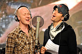 HOLLYWOOD FEBRUARY 01 Singer Isaac Slade and Enrique Iglesias perform at the 'We Are The World 25 Years for Haiti' recording session held at Jim...