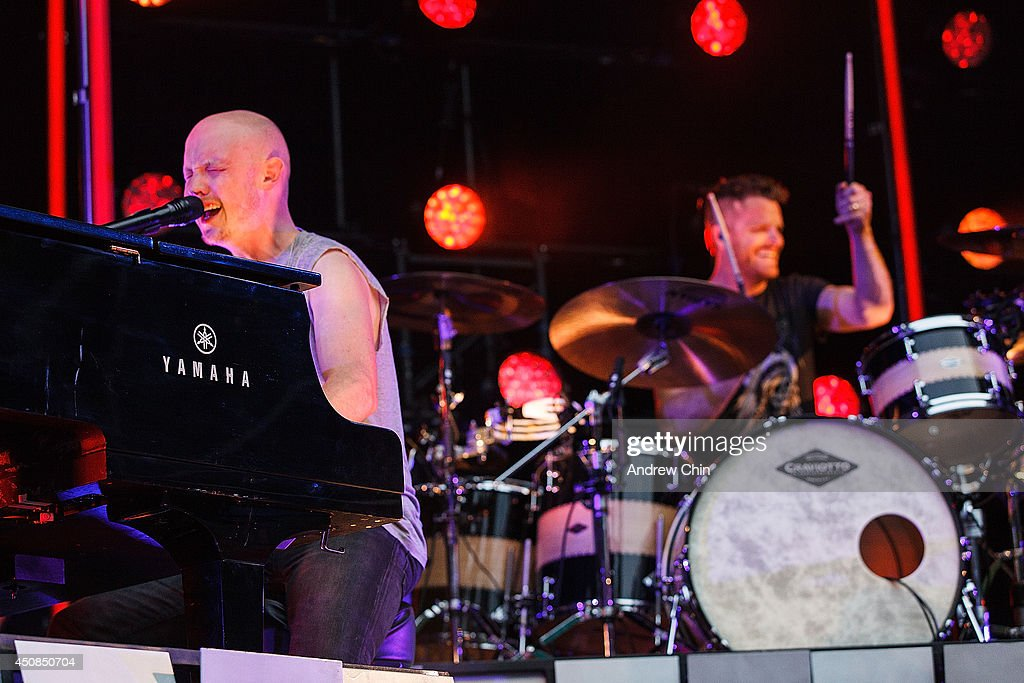 Singer Isaac Slade of The Fray perform on stage at Malkin Bowl at Stanley Park on June 18, 2014 in Vancouver, Canada.