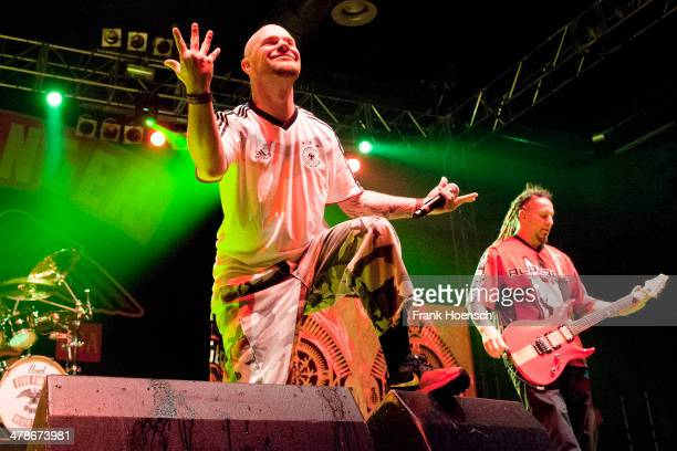 Singer Ivan 'Ghost' Moody of Five Finger Death Punch performs live during a concert at the Huxleys on March 11 2014 in Berlin Germany