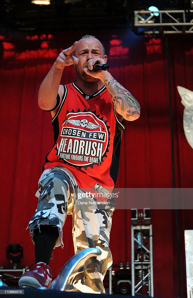 Singer Ivan Moody of Five Finger Death Punch performs at White River Amphitheater on July 3, 2013 in Auburn, Washington.