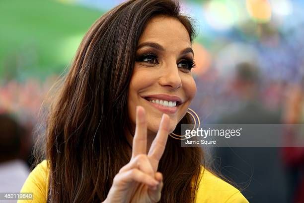 Singer Ivete Sangalo looks on during the 2014 FIFA World Cup Brazil Final match between Germany and Argentina at Maracana on July 13 2014 in Rio de...