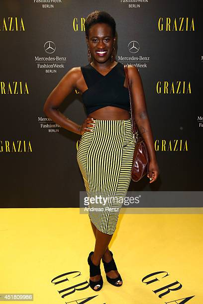 Singer Ivy Quainoo arrives for the Opening Night by Grazia fashion show during the MercedesBenz Fashion Week Spring/Summer 2015 at Erika Hess...