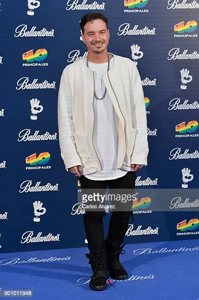 Singer J Balvin attends the 40 Principales Awards 2015 photocall at the Barclaycard Center on December 11 2015 in Madrid Spain